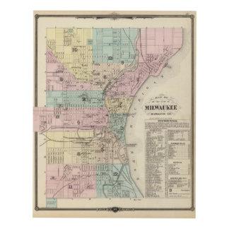 Mapa de la ciudad de Milwaukee, Milwaukee Co Cuadro