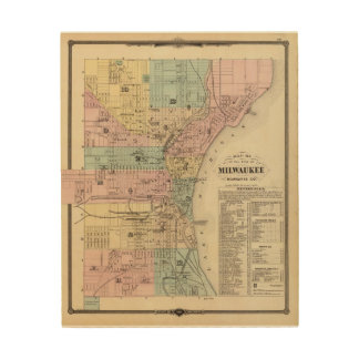 Mapa de la ciudad de Milwaukee, Milwaukee Co Cuadro De Madera