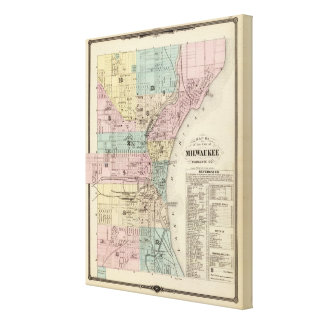 Mapa de la ciudad de Milwaukee, Milwaukee Co Impresión En Lienzo