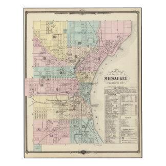 Mapa de la ciudad de Milwaukee, Milwaukee Co Impresión En Madera