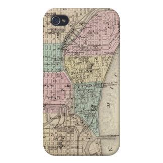 Mapa de la ciudad de Milwaukee, Milwaukee Co iPhone 4 Carcasas