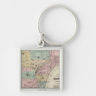 Mapa de la ciudad de Milwaukee, Milwaukee Co Llavero Cuadrado Plateado
