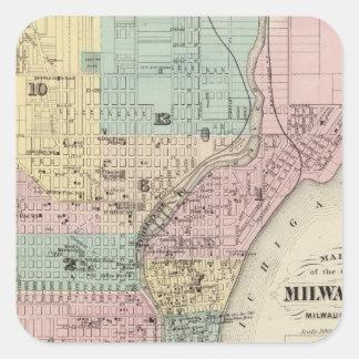 Mapa de la ciudad de Milwaukee, Milwaukee Co Pegatina Cuadrada