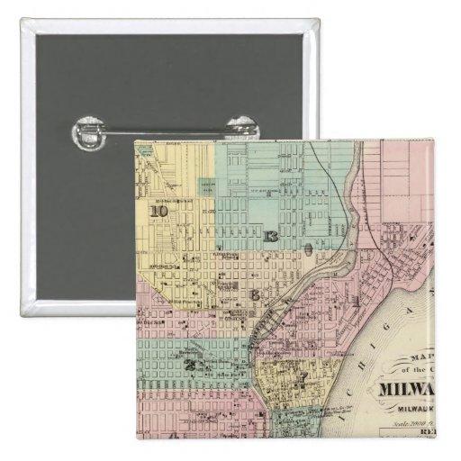 Mapa de la ciudad de Milwaukee, Milwaukee Co Pin Cuadrado