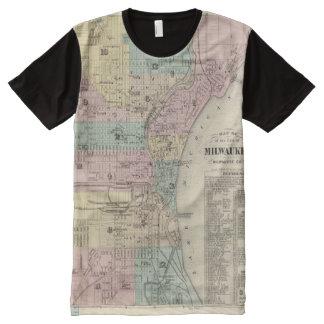 Mapa de la ciudad de Milwaukee, Milwaukee Co Playera Con Estampado Integral