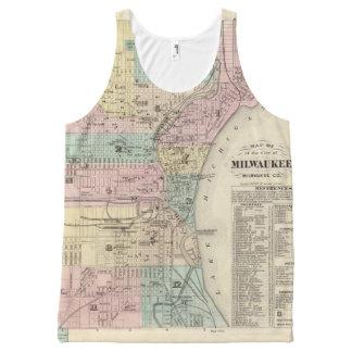Mapa de la ciudad de Milwaukee, Milwaukee Co Playera De Tirantes Con Estampado Integral