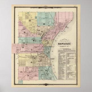 Mapa de la ciudad de Milwaukee, Milwaukee Co Póster