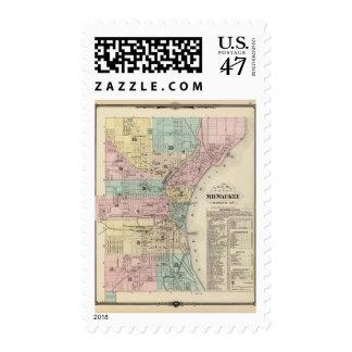 Mapa de la ciudad de Milwaukee, Milwaukee Co Sello Postal