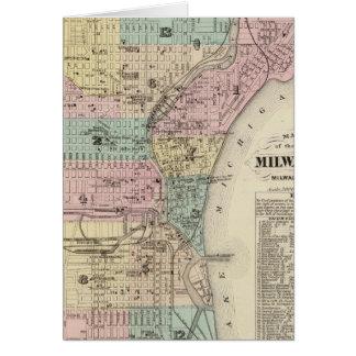 Mapa de la ciudad de Milwaukee, Milwaukee Co Tarjeta De Felicitación
