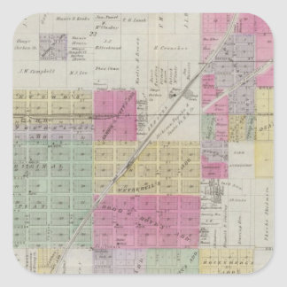 Mapa de la ciudad de Osage, Kansas Pegatina Cuadrada