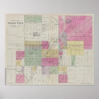 Mapa de la ciudad de Osage, Kansas Póster