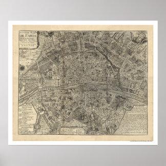 Mapa de la ciudad de París de Nicolás de Fer 1700 Póster