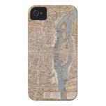 Mapa de la ciudad de París del vintage, 1550 iPhone 4 Case-Mate Fundas