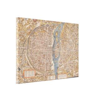 Mapa de la ciudad de París del vintage, 1550 Impresión En Lienzo Estirada