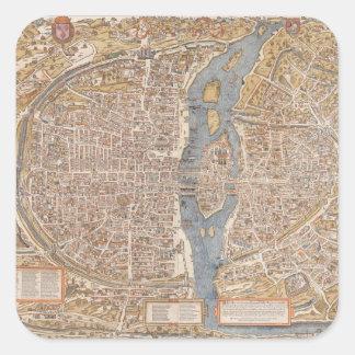 Mapa de la ciudad de París del vintage 1550 Pegatinas Cuadradas