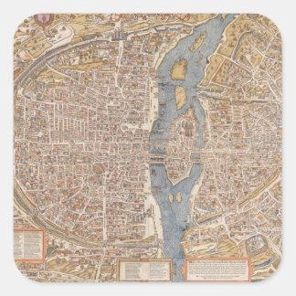 Mapa de la ciudad de París del vintage 1550 Etiquetas