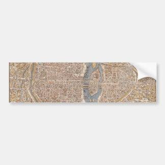 Mapa de la ciudad de París del vintage, 1550 Pegatina Para Auto