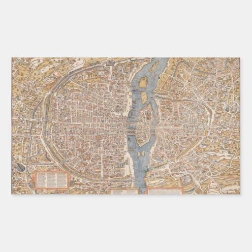 Mapa de la ciudad de París del vintage, 1550 Pegatina Rectangular