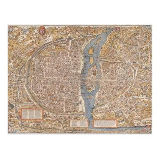 Mapa de la ciudad de París del vintage, 1550 Postales