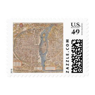 Mapa de la ciudad de París del vintage, 1550 Sellos