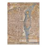 Mapa de la ciudad de París del vintage, 1550 Tarjetas Postales
