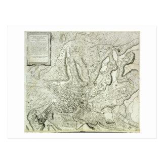Mapa de la ciudad de Roma, grabada por el artista, Postal