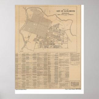 Mapa de la ciudad de Sacramento, 1916 Poster