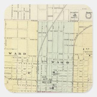 Mapa de la ciudad de Springfield Pegatina Cuadrada