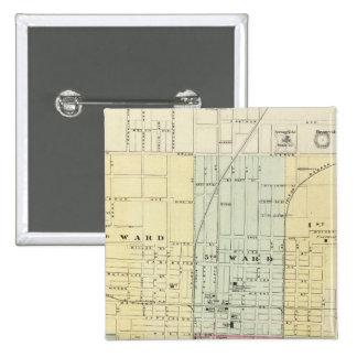 Mapa de la ciudad de Springfield Pin Cuadrado