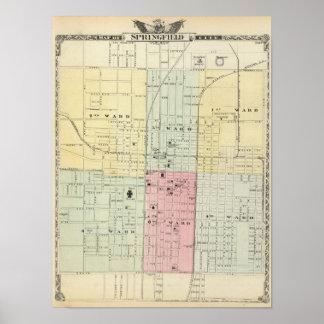 Mapa de la ciudad de Springfield Póster