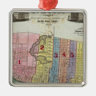 Mapa de la ciudad de St. Louis Adorno Navideño Cuadrado De Metal