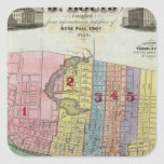 Mapa de la ciudad de St. Louis Pegatina Cuadrada