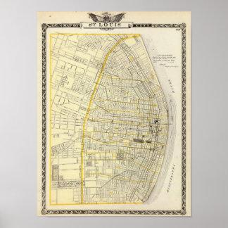 Mapa de la ciudad de St. Louis Póster