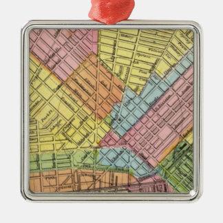 Mapa de la ciudad del búfalo adorno navideño cuadrado de metal