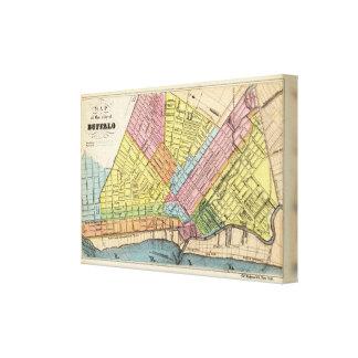 Mapa de la ciudad del búfalo lienzo envuelto para galerias