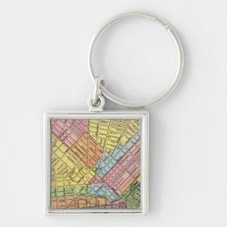 Mapa de la ciudad del búfalo llavero cuadrado plateado