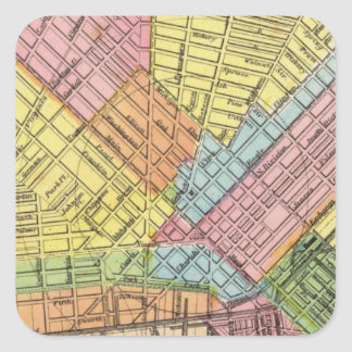 Mapa de la ciudad del búfalo pegatina cuadrada