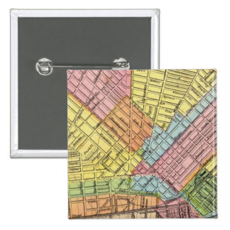 Mapa de la ciudad del búfalo pin cuadrada 5 cm