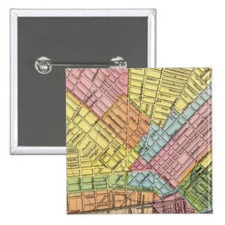 Mapa de la ciudad del búfalo pin cuadrado