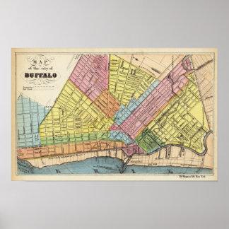 Mapa de la ciudad del búfalo póster
