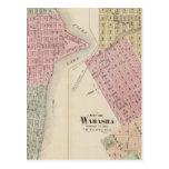 Mapa de la ciudad del lago, y mapa de Wabasha, Min Tarjeta Postal