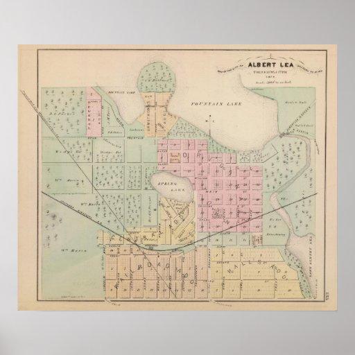 Mapa de la ciudad del pasto de Albert, Minnesota Poster