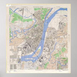 Mapa de la ciudad norcoreana de Pyongyang en 1946 Impresiones