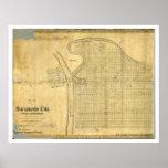 Mapa de la ciudad y de Sacramento del oeste, 1850  Póster