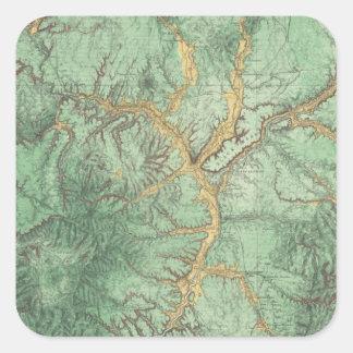 Mapa de la clasificación de tierra de New México 2 Pegatina Cuadrada