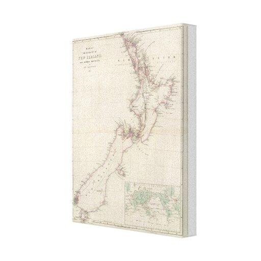 Mapa de la colonia de Nueva Zelanda Impresion De Lienzo