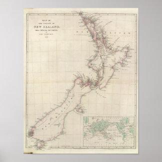 Mapa de la colonia de Nueva Zelanda Póster