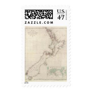 Mapa de la colonia de Nueva Zelanda Timbre Postal