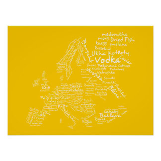 Mapa de la comida de Europa amarillo Impresiones
