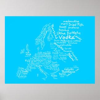 Mapa de la comida de Europa azul Impresiones